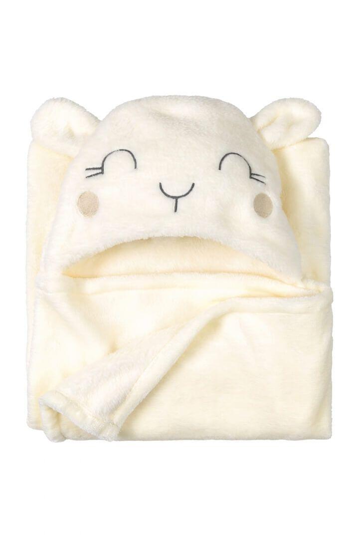 Manta em Pelo Sintético Off White com Orelhinha - Up Baby