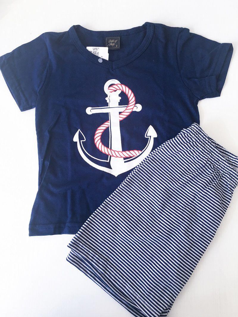 Pijama Marinheiro Masculino - Camiseta/Bermuda Meia Malha - Andrimalhas