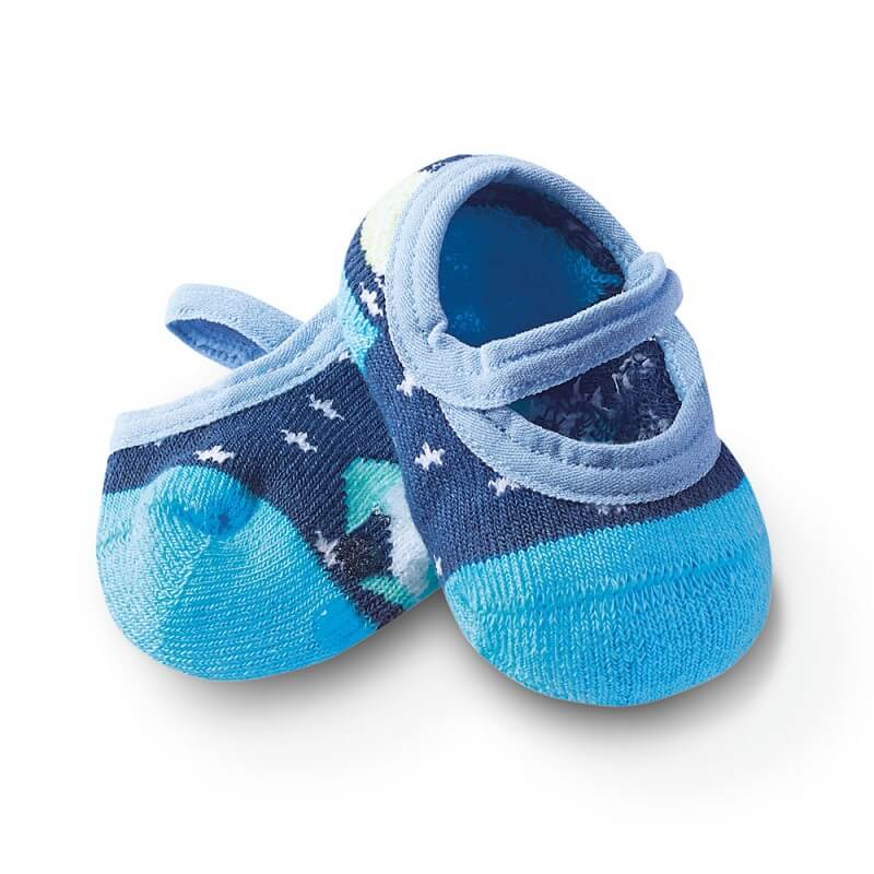 Sapatilha com Antiderrapante Bebê Estrelinha Azul - Cia da Meia