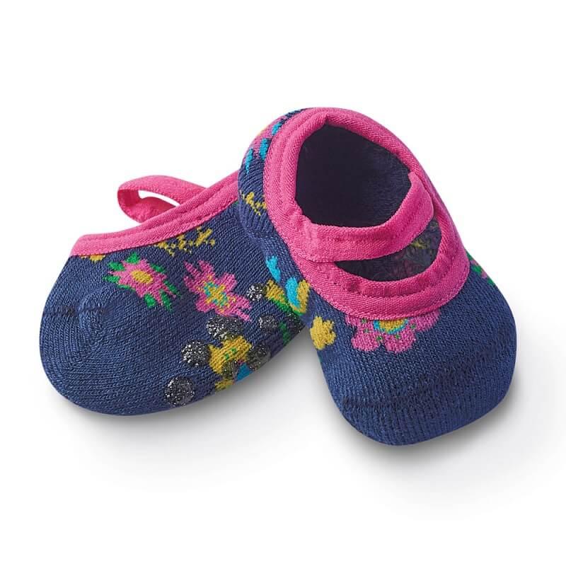 Sapatilha com Antiderrapante Bebê Florzinhas Azul Marinho - Cia da Meia