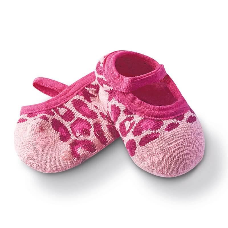 Sapatilha com Antiderrapante Bebê Onça Rosa - Cia da Meia