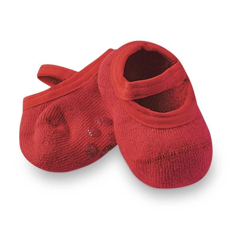 Sapatilha com Antiderrapante Bebê Vermelho - Cia da Meia