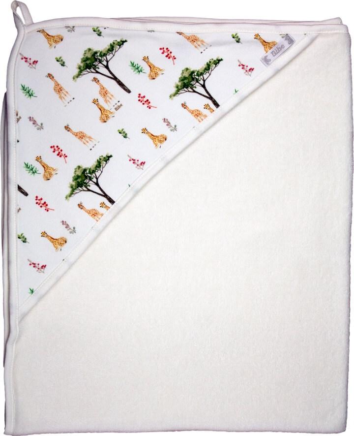 Toalha de Banho com Capuz em Fio Egípcio Estampa Digital Girafa Off White - Bibe