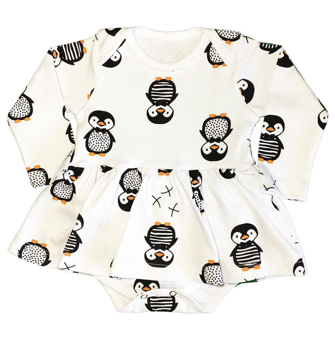 Vestido Body Manga Longa em Suedine Pinguim Branco - Lualand
