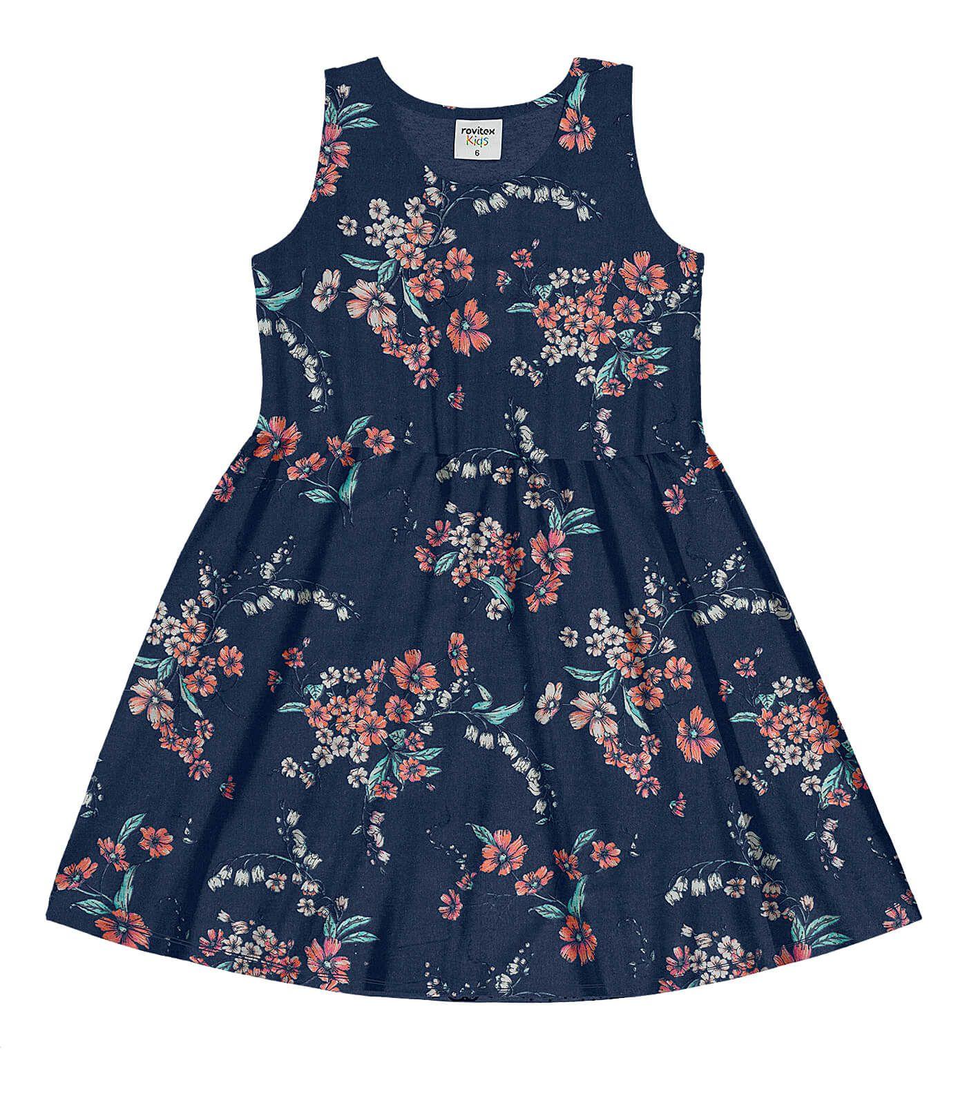 Vestido Meia Malha Jersey Dress Marinho - Rovitex Kids