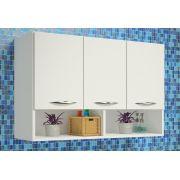 Armário Branco Multiuso Suspenso Parede 3 Portas Cozinha