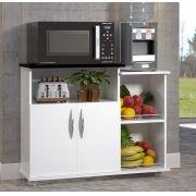 Fruteira 2 Portas Base Para Microondas Branco c/ Preto Cozinha