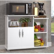 Fruteira Armário Cozinha Multiuso 2 Portas c/ Rodinhas Branco