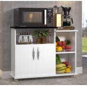 Fruteira Base p/ Microondas Multiuso 2 Portas Branco C/ Preto Cozinha