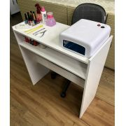 Mesa p/ Manicure Branco Salão de Beleza Organizador
