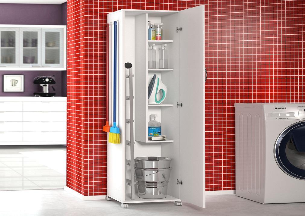 Armário 1 Porta Lavanderia Branco + 4 Rodinhas Multiusos