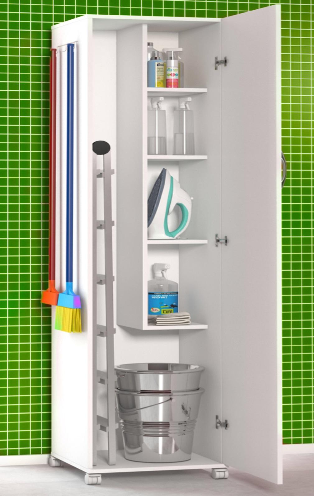 Armário 1 Porta Lavanderia Branco Com 4 Rodinhas