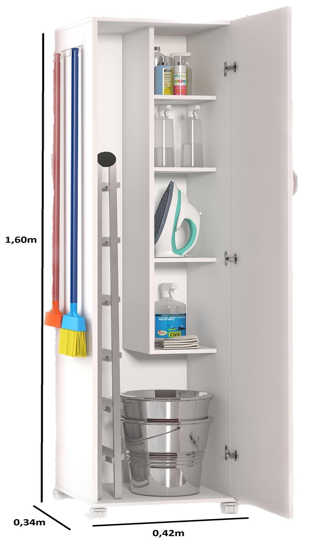 Armário 1 Porta Para Lavanderia Para Branco & 4 Rodinhas