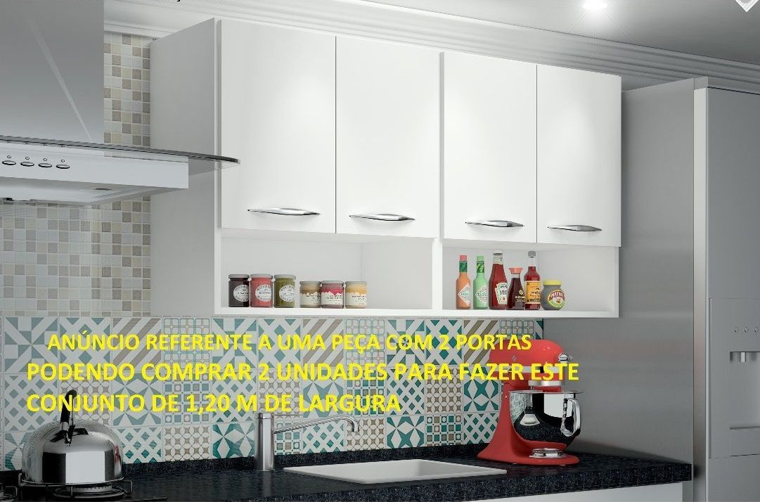 Armário Aéreo 2 Portas Suspenso Parede Cozinha Lavanderia Branco
