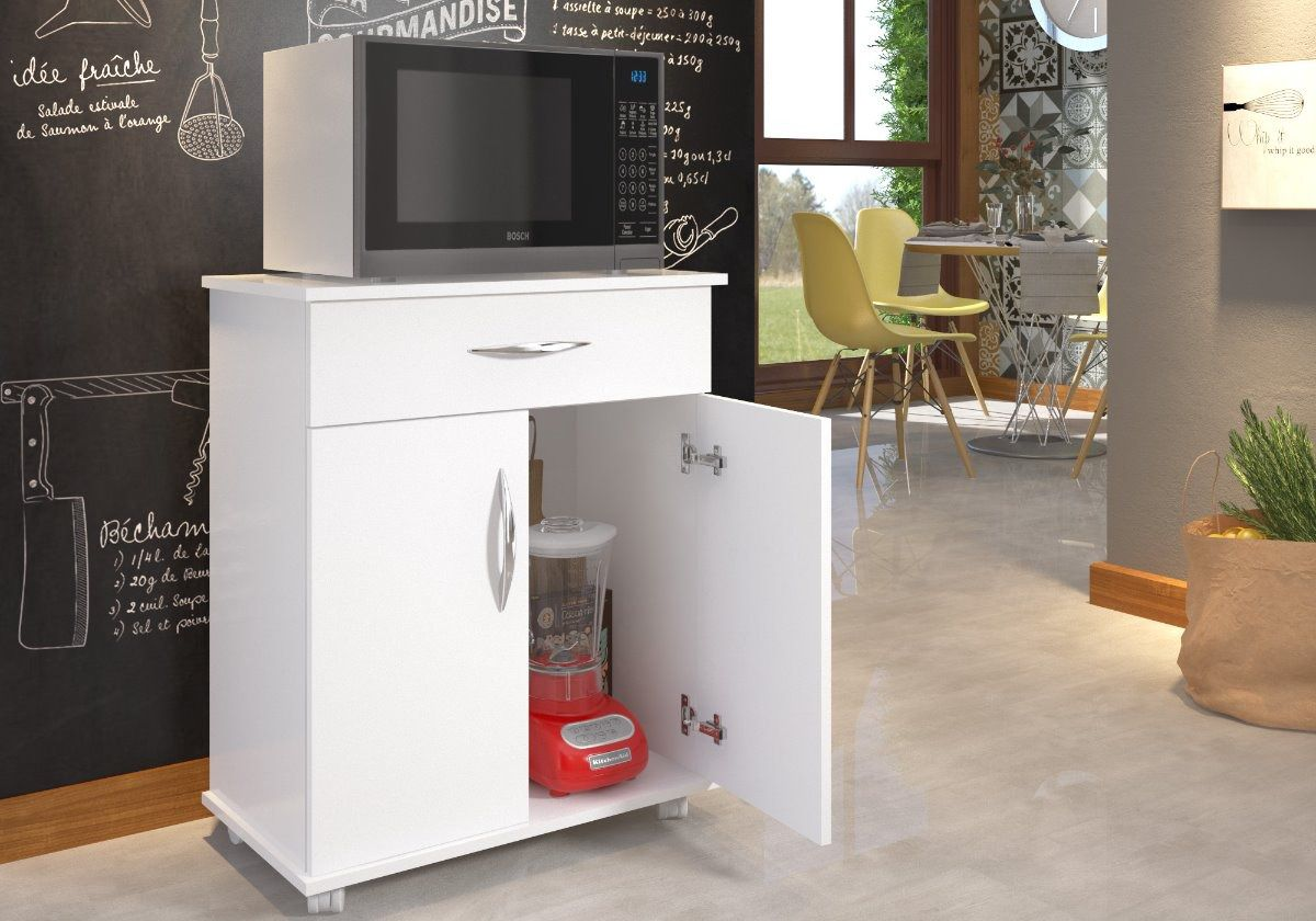 Armário Balcão Cozinha 2 Portas Microondas Bebedouro Chão Multiuso