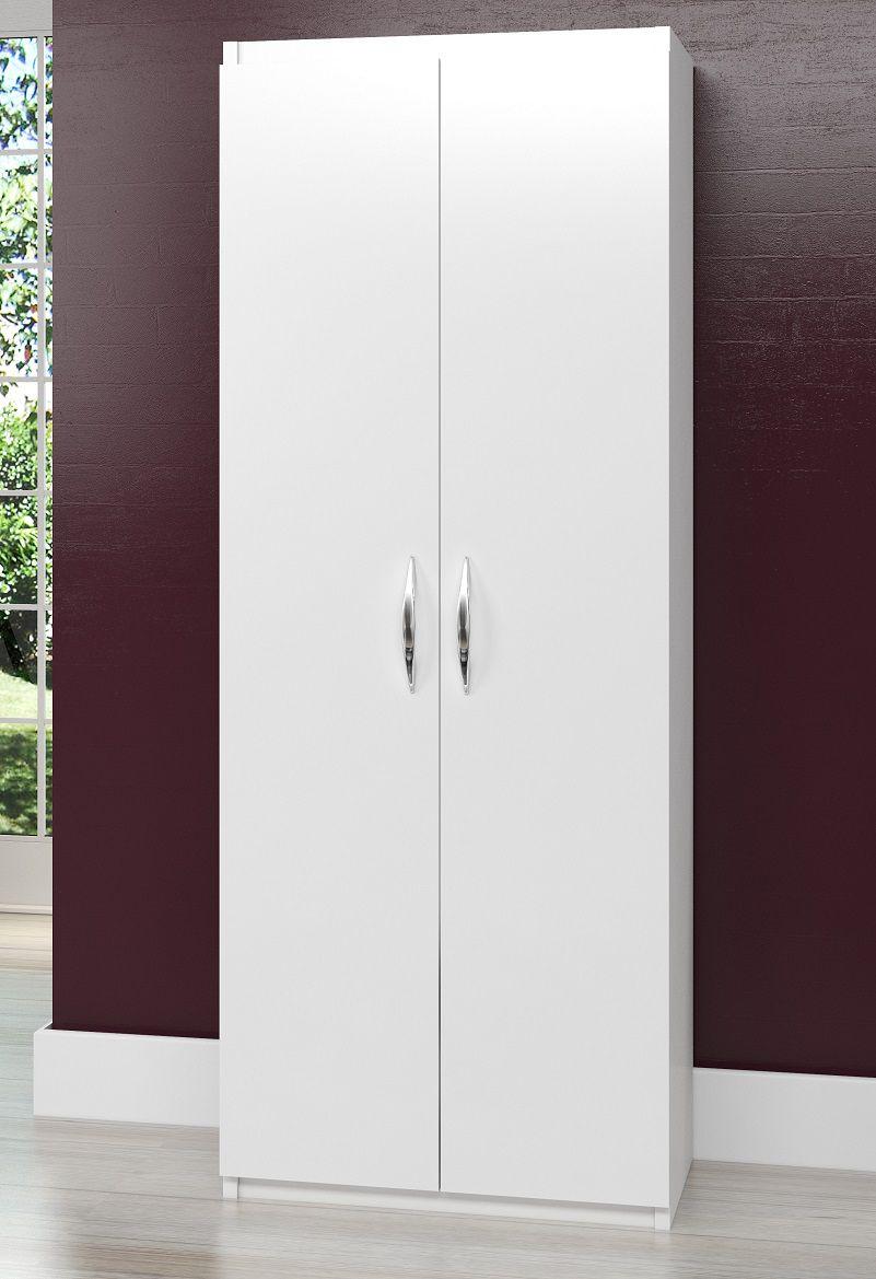 Armário Balcão Escritório 4 Prateleiras Multiuso 2 Portas Branco