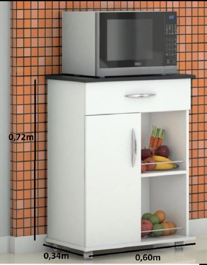 Armário Balcão Fruteira Suporte Microondas Cozinha Branco