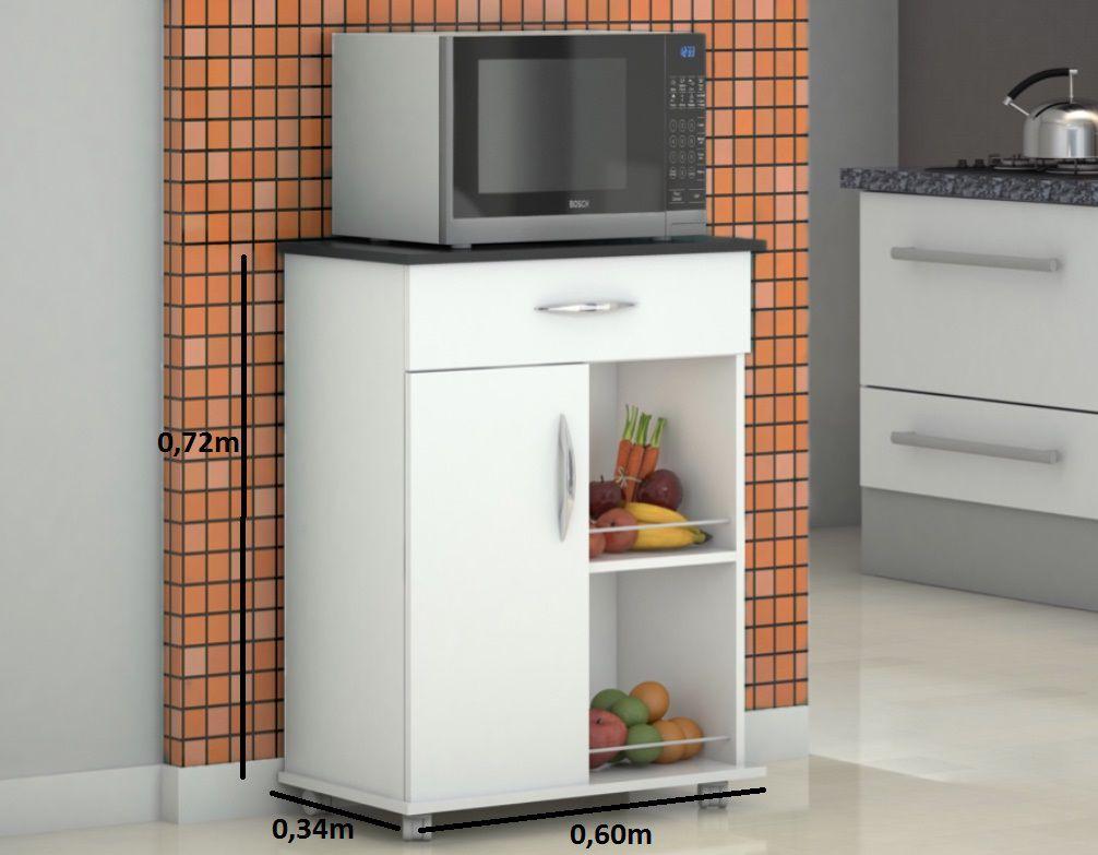 Armário Balcão Fruteira Suporte Microondas Cozinha Serviço Preto