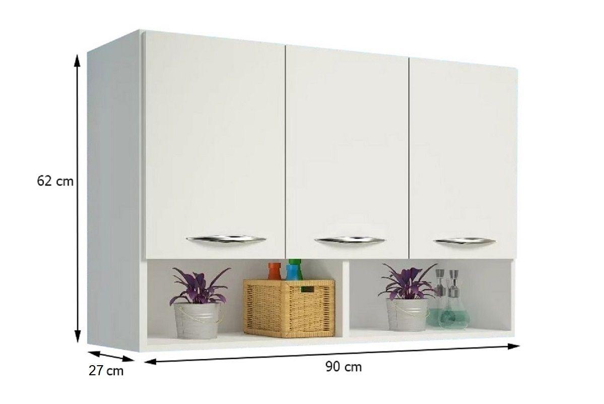 Armário Balcão Multiuso 3 Portas Aéreo Parede Branco Cozinha