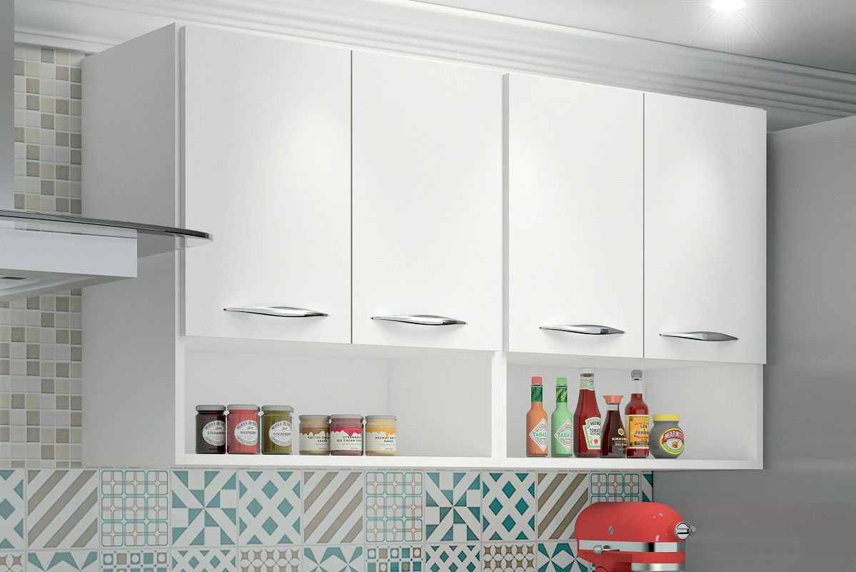 Armário Balcão Multiuso 4 Portas Cozinha Lavanderia Branco