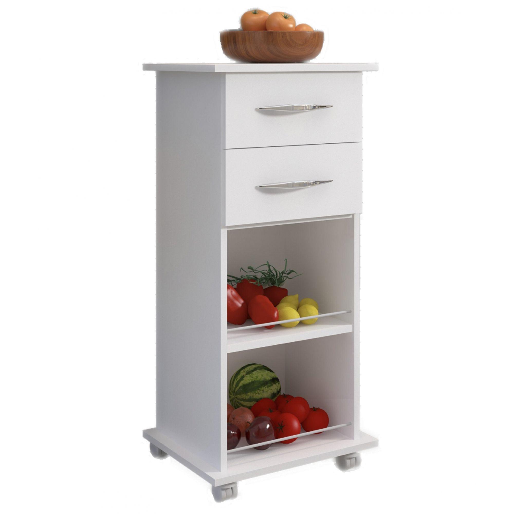 Armário Branco Chão Cozinha 2 Gavetas Multiuso