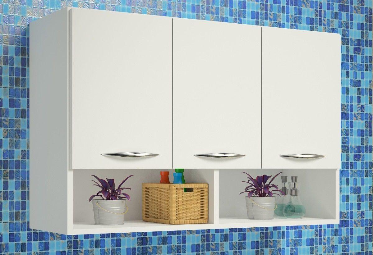 Armário Branco Móveis de Cozinha Escritório Pasta 3 Portas