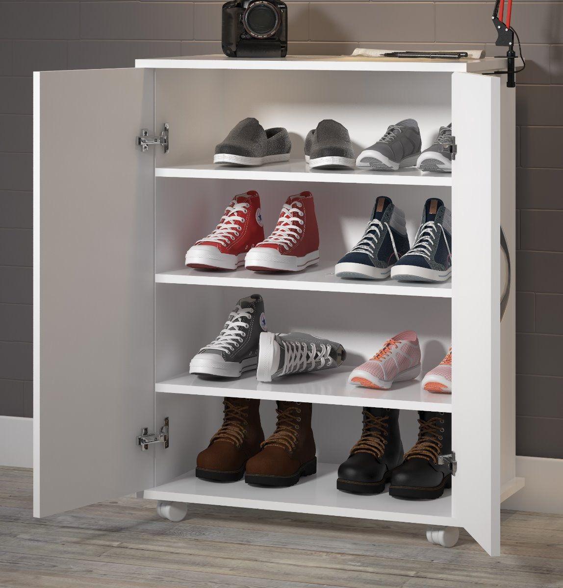 Armário Branco Multiuso Balcão c/ Prateleiras Sapatos Livros