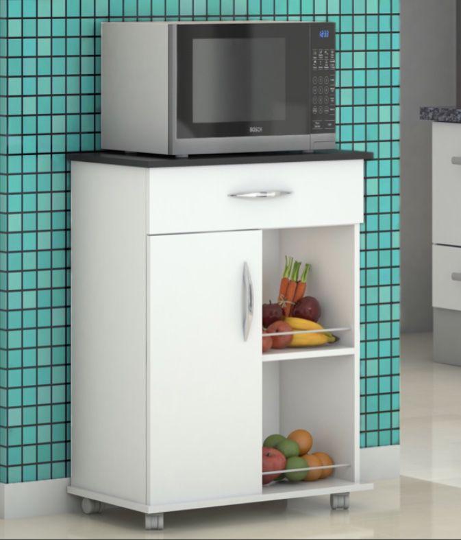 Armário c/ Fruteira Cozinha Microondas Bebedouro Base Preta