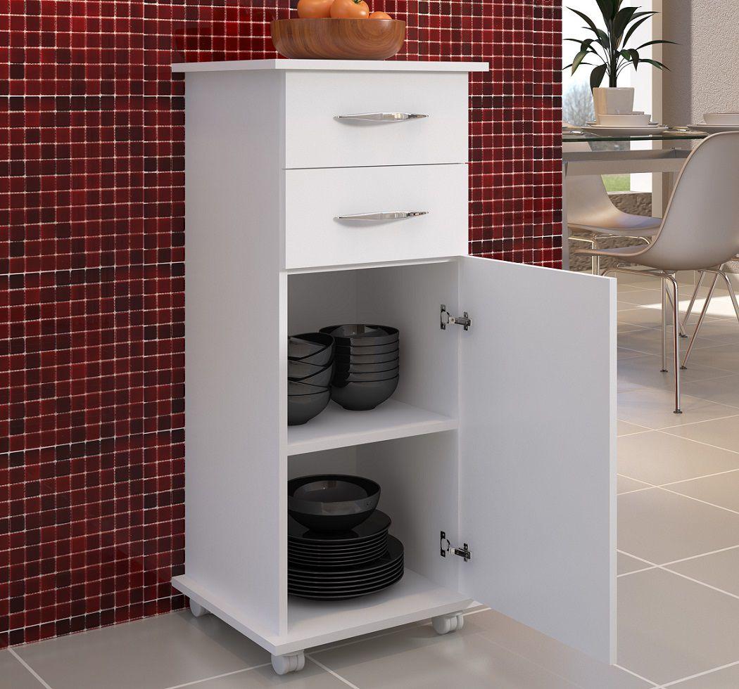 Armário de Cozinha Multiuso Branco 2 Gavetas 1 Porta