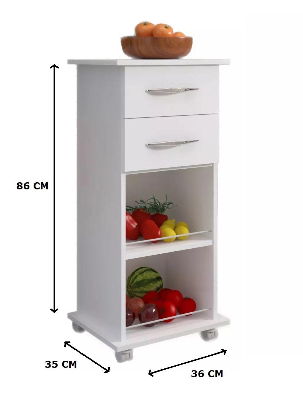 Armário Fruteira Branco c/ Rodinhas 2 Gavetas Base Cozinha