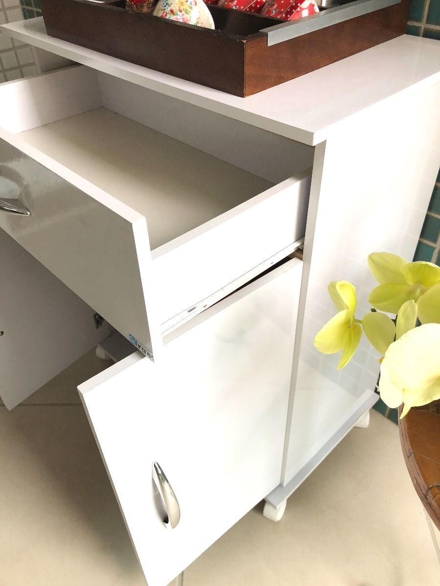 Armário Microondas Balcão Cozinha 2 Portas Gaveta Bebedouro Multiuso