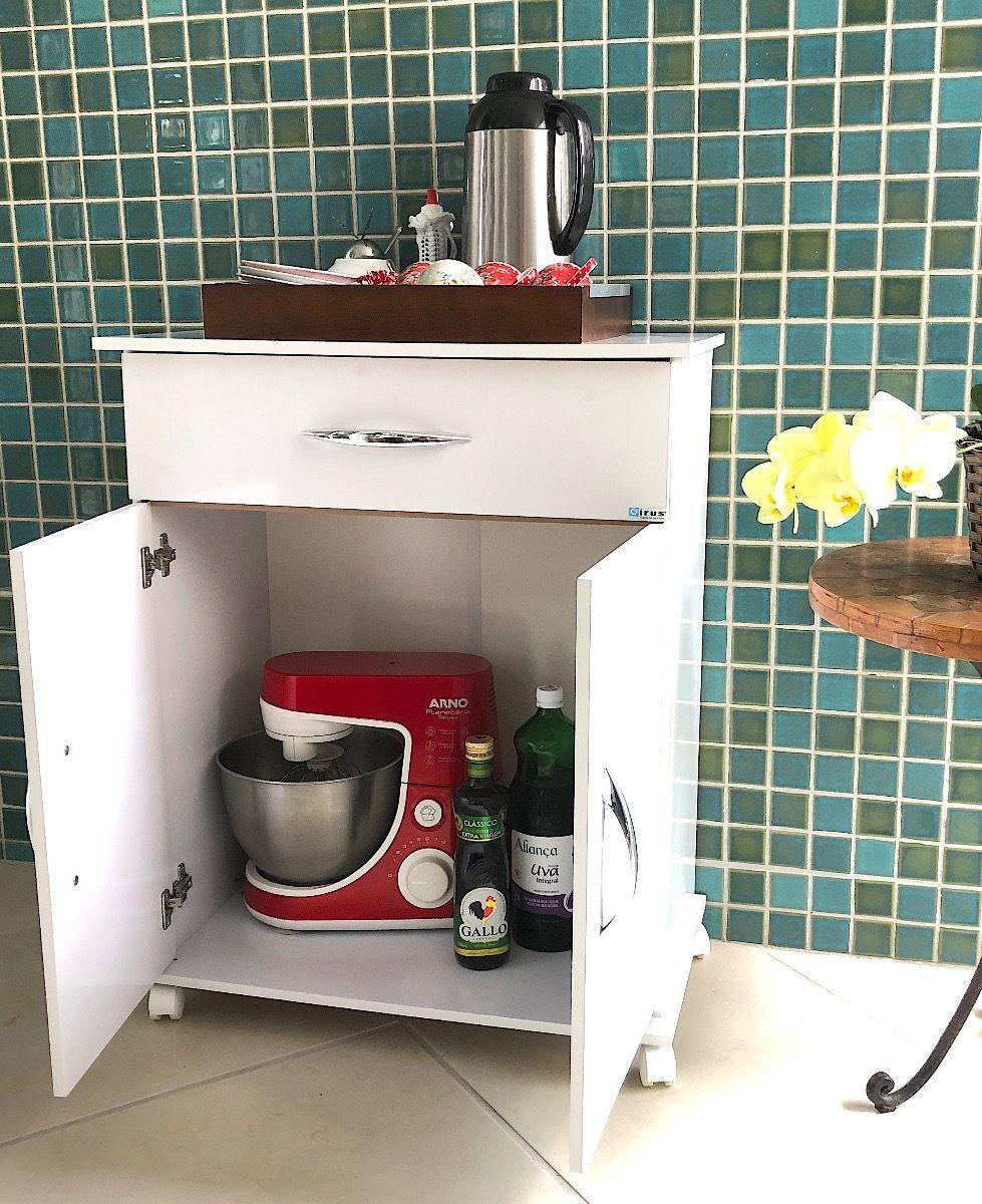 Armário Microondas Multiuso Cozinha Bebedouro Branco