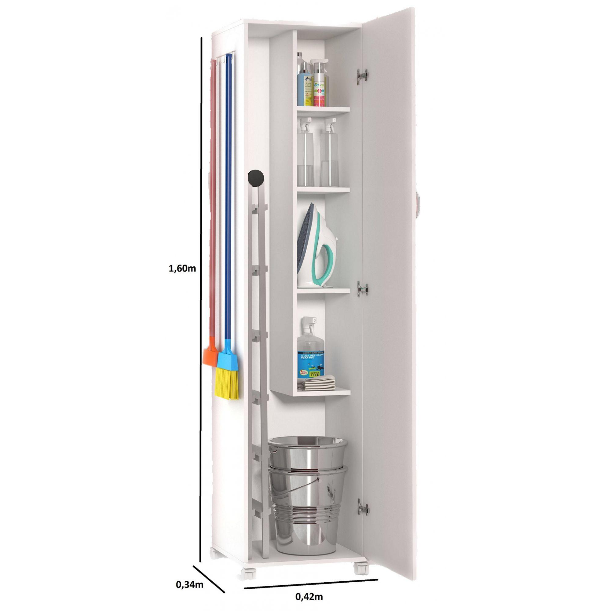 Armário Multiuso Para Sua Cozinha 1 Porta Porta 3 Vassouras