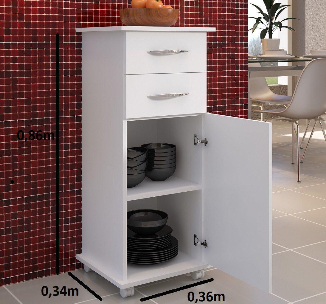 Armário Para Cozinha Quarto 1 Porta 2 Gavetas Branco