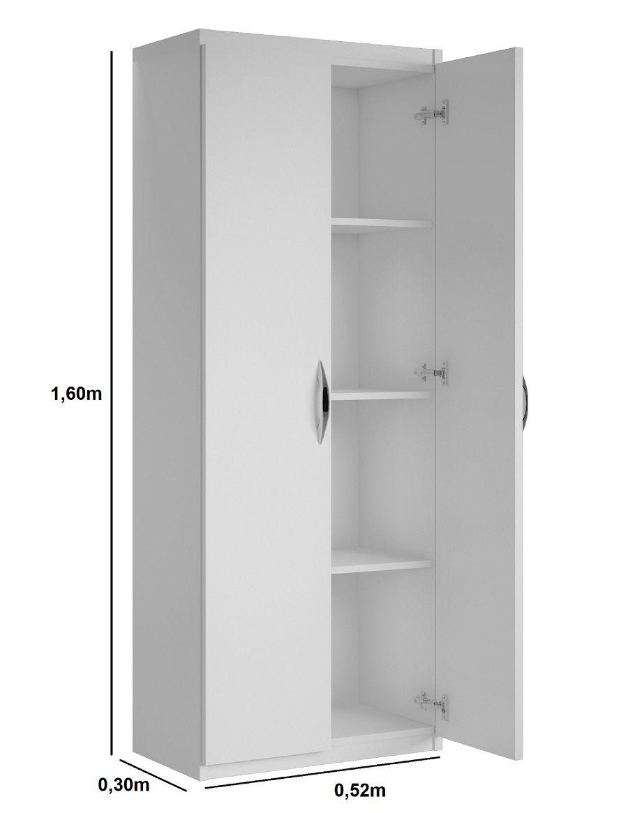 Armário Para Lavanderia Alto Multiuso Porta Vassouras Branco