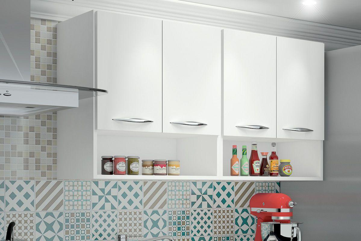 Armário Parede Suspenso Branco Multiuso Cozinha 4 Portas