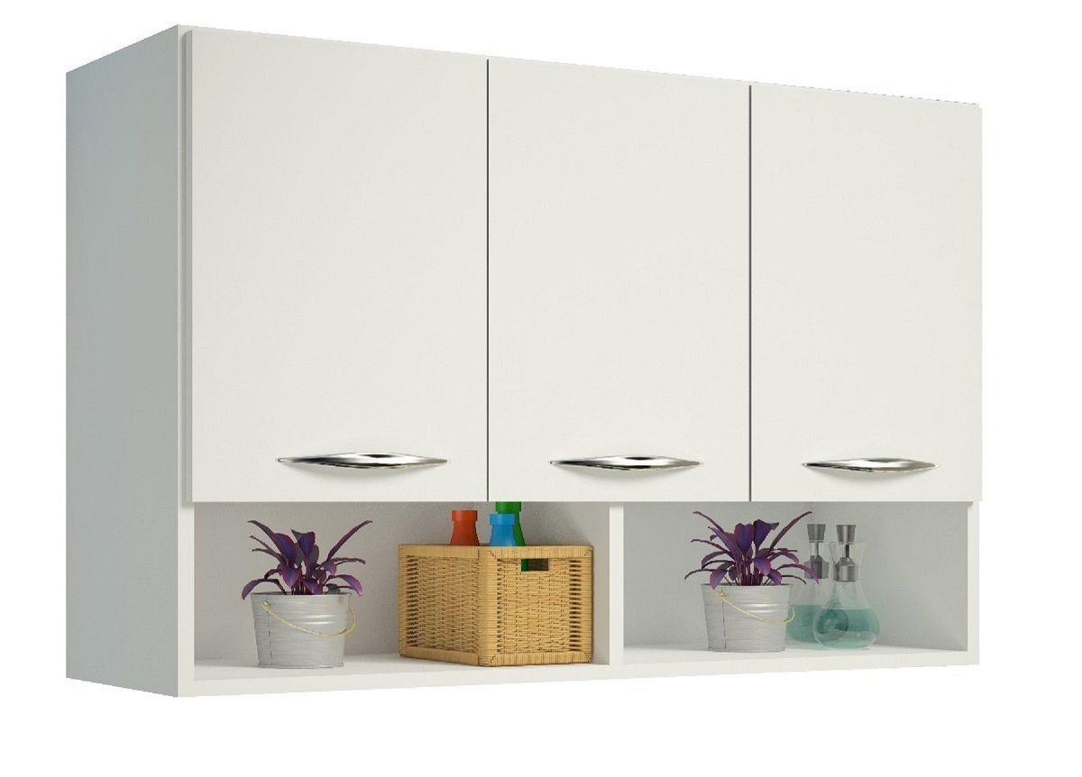 Balcão Aéreo Branco 3 Portas Multiuso Cozinha Utensílios
