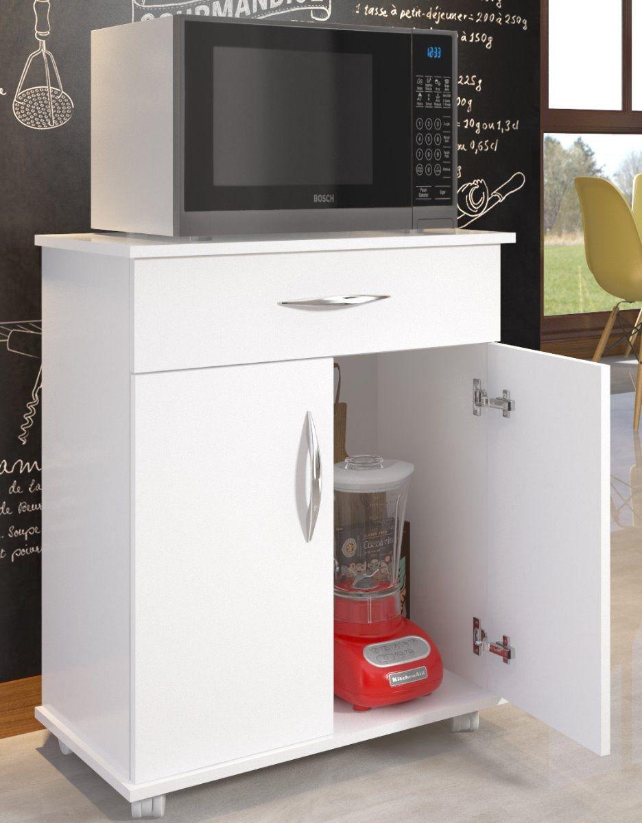 Balcão Cozinha 2 Portas 1 Gaveta Multiuso c/ Rodinhas