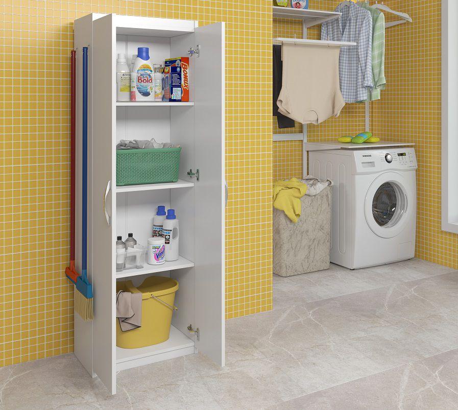 Balcão P/ Guardar Produtos de Limpeza Área de Serviço Branco