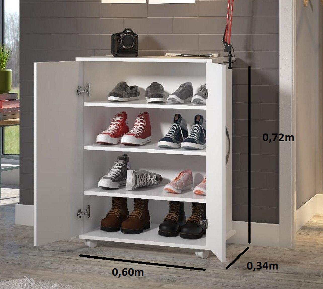 Balcão Quarto Lavanderia Cor Branca 2 Portas Sapatos Produto