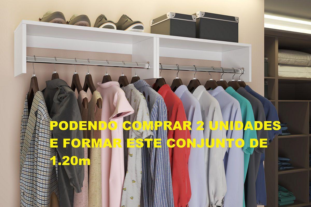 Cabideiro Arara P/ Roupas Armário Closet Parede