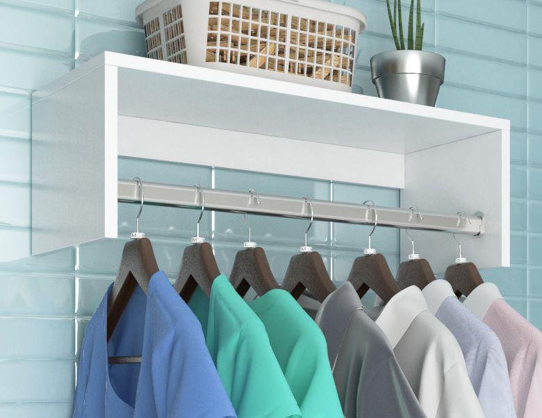 Cabideiro Suspenso p/ Closet Branco