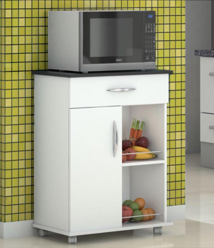 Fruteira Armário Branco c/ Preto Móveis Cozinha