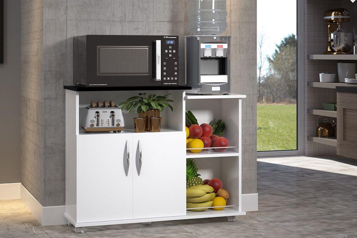 Fruteira Armário Cozinha Branco c/ Preto Multiuso 2 Portas c/ Rodinha