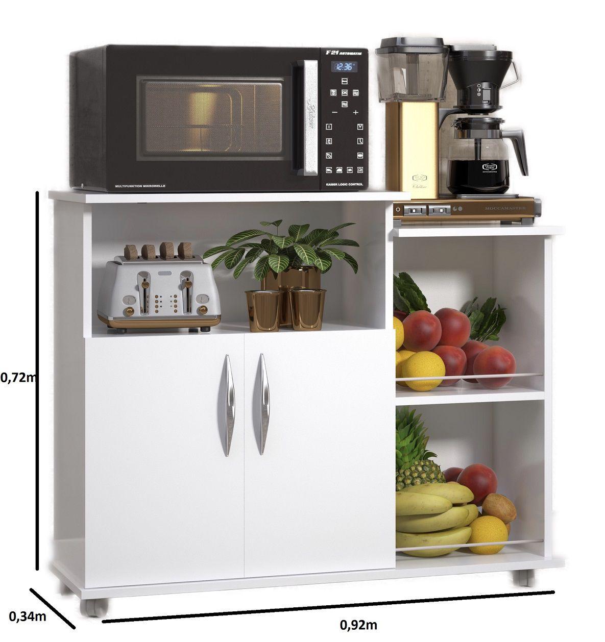 Fruteira Balcão 2 Portas Móveis de Cozinha Multiuso Branco