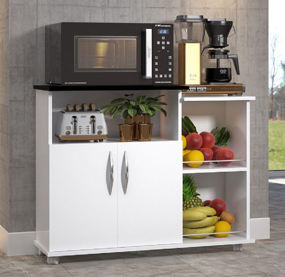 Fruteira Balcão 2 Portas Móveis de Cozinha Multiuso Branco c/ Preto