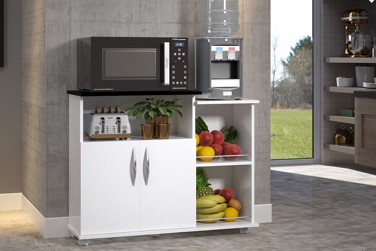 Fruteira Balcão Cor Branca c/ Preto  2 Portas Cozinha Base Utensílios