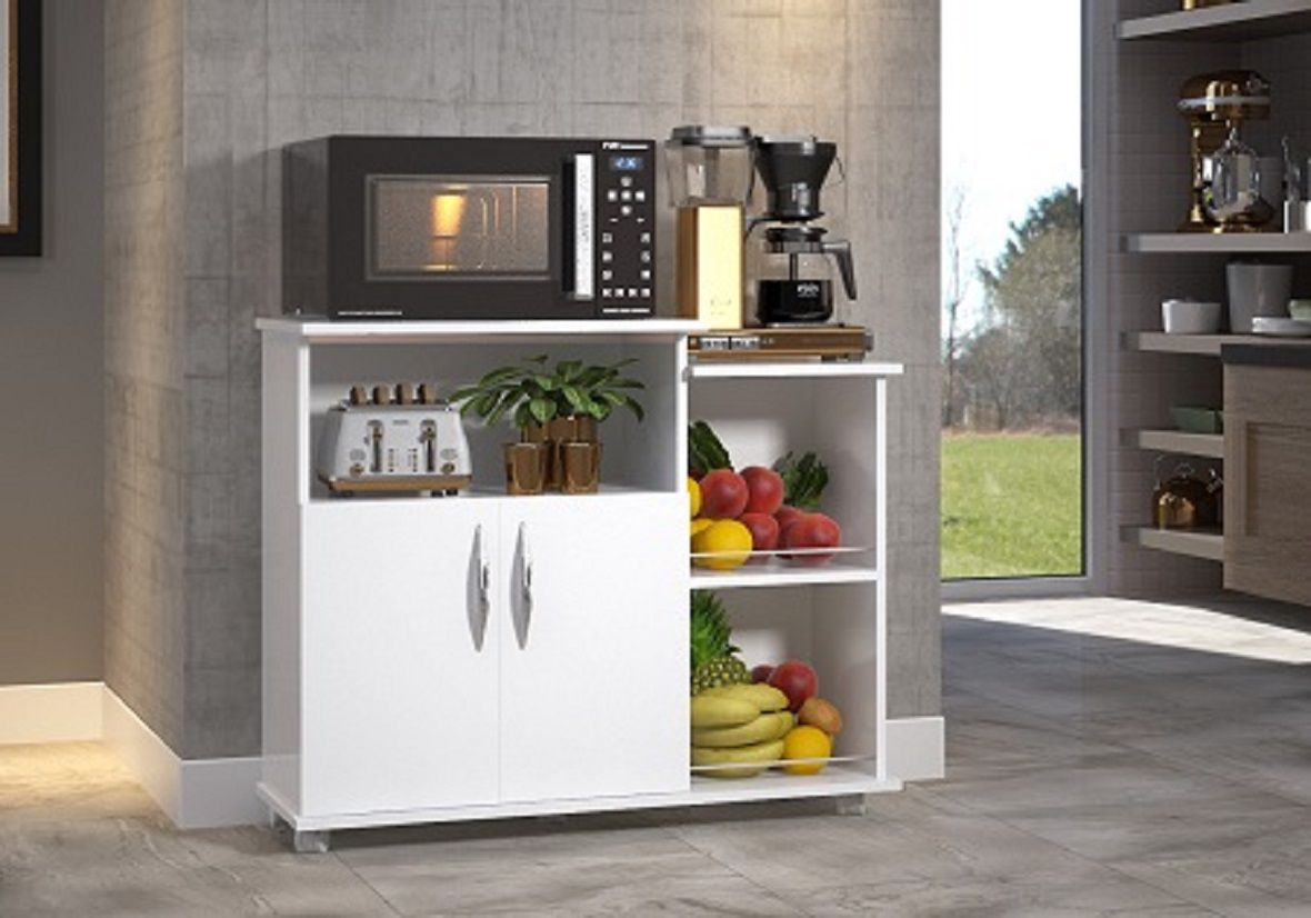 Fruteira Base p/ Microondas Multiuso 2 Portas Branco Cozinha