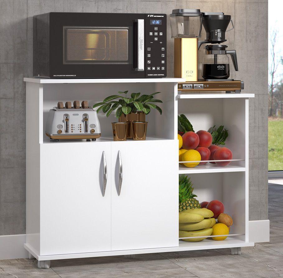 Fruteira Branco 2 Portas Multiuso Base Armazenamento Cozinha