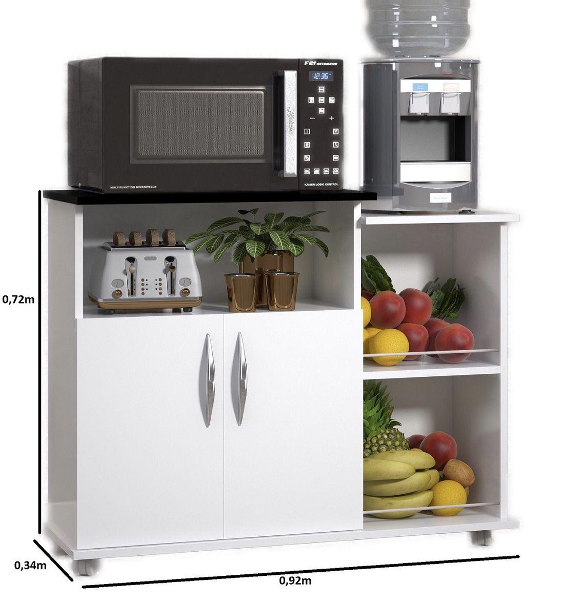 Fruteira Branco c/ Preto Multiuso c/ Rodinhas 2 Portas Cozinha